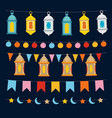 set of ramadan kareem strings and garlands with vector image vector image