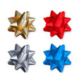 set realistic shiny bows isolated on white vector image