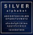 silver colored metal chrome alphabet font vector image