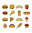 sixteen fast food icons vector image