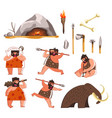 stone age and caveman prehistoric tools and vector image