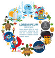 the round frame on the pirate theme hilarious vector image vector image
