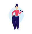 woman in oversized pants with dumbbells vector image vector image