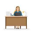woman manager at the desk with a pile of papers vector image vector image
