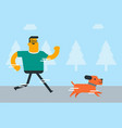 young caucasian white man training with his dog vector image vector image