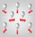 a set of balloons with direction arrows vector image
