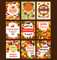 autumn season nature retro poster and banner set vector image