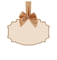 Blank banner with golden ribbon vector image