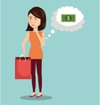 cartoon woman money e-commerce isolated design vector image vector image