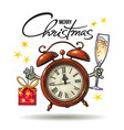 christmas greeting card cartoon alarm clock vector image