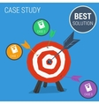 Concept case study with target vector image vector image