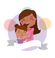 cute mom hugging a her daughter happy vector image vector image