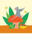 cute rat sit on autumn mushroom vector image