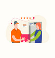 delivery man get reviewed after delivery vector image vector image