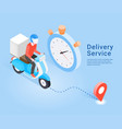 delivery service scooter isometric concept vector image