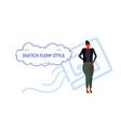 elegant businesswoman standing pose brunette vector image