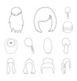 female hairstyle outline icons in set collection vector image vector image