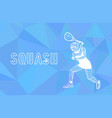 female squash player polygonal geometric vector image