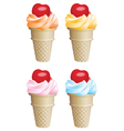 fruit icecream cones vector image vector image
