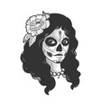 girl in day dead makeup sketch vector image