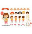 girl kid playing games and toys cartoon vector image vector image