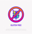 gluten free sign no grain thin line icon vector image