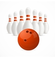 Group of White Bowling Pins and Ball vector image