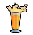 halftoned style beer glass icon vector image