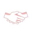 handshake friendship partnership stroke icon vector image