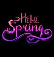 handwritten neon lettering hello spring vector image vector image