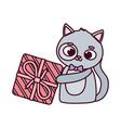 happy valentines day cute animals gray cat vector image vector image