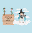 invited birthday party card with unicorn and witch vector image