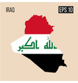 iraq map border with flag eps10 vector image
