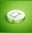 isometric laptop and gear icon on green background vector image vector image