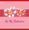 kids crafting be my valentine card vector image vector image