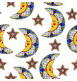 mexican pattern with moons and stars vector image
