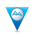 mountain icon on blue triangular map pointer vector image vector image