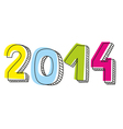 New Year 2014 hand drawn doodle sign vector image