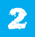 number 2 cloud font symbol white alphabet sign vector image vector image