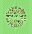 organic farm signs round design template thin line vector image vector image