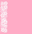 pink background with stripe of white flowers and vector image vector image