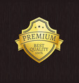 premium quality exclusive golden label on wooden vector image vector image