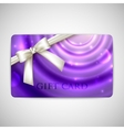 purple card with white bow and ribbon vector image