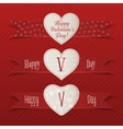 Realistic Valentines Day Heart Labels Set vector image