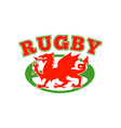Rugby ball wales red welsh dragon vector image
