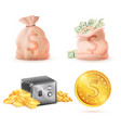 sack full of money metal safe strongbox and bag vector image vector image