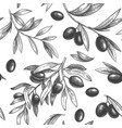seamless black olive pattern greek olives on vector image vector image