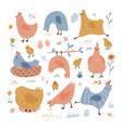 set cute hens happy chickens is walking vector image vector image