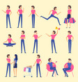 set flat design woman character animation poses vector image
