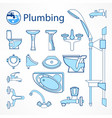 set of plumbing line icons vector image